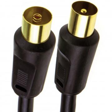 RF Coaxial TV Aerial Lead Coax Plug to Socket Black RG59 Cable GOLD  2m