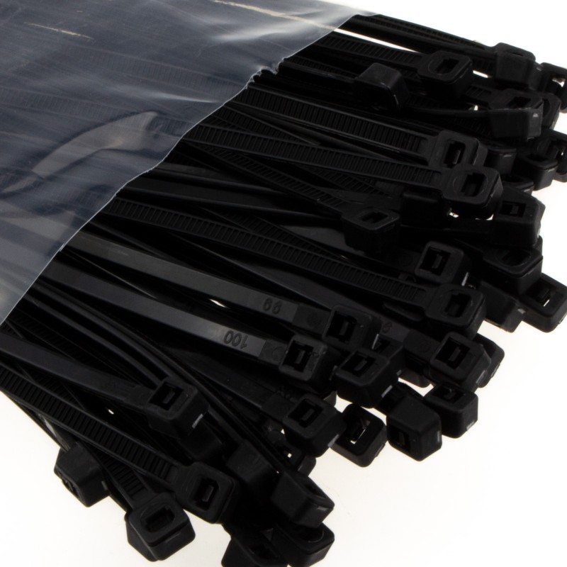 enTie Black Cable Ties 3.6mm x 200mm Nylon 66 UL Approved [50 Pack]