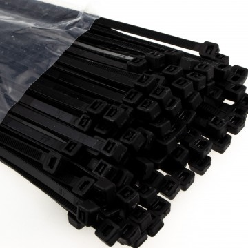 enTie Black Cable Ties 4.8mm x 200mm Nylon 66 UL Approved [50 Pack]