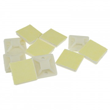 Cable Tie Base 20mm x 20mm Self Adhesive Natural Small White [10 Pack]