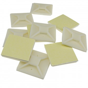 Cable Tie Base 40mm x 40mm Self Adhesive Natural Large White...