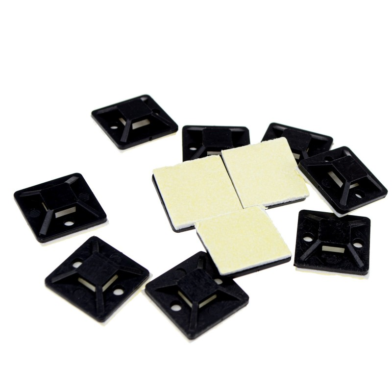 Cable Tie Base 20mm x 20mm Self Adhesive Small Black [10 Pack]