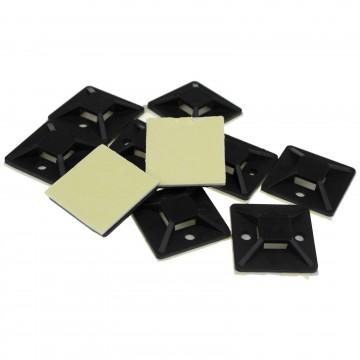Cable Tie Base 30mm x 30mm Self Adhesive Medium Black [10 Pack]