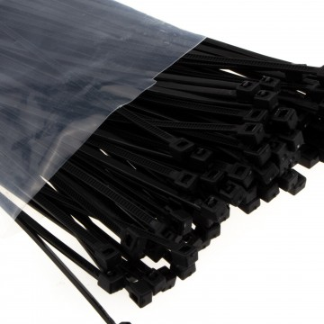 enTie Black Cable Ties 2.5mm x 200mm Nylon 66 UL Approved [100 Pack]