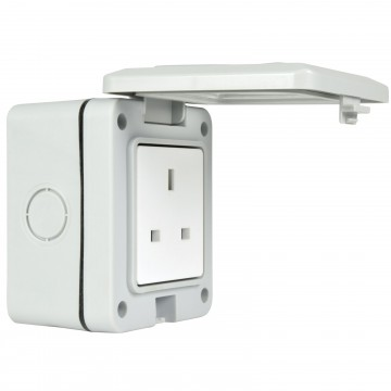 Single 1 Gang Fully Weatherproof 3 Pin UK Power Socket Outdoor Outlet IP55 White