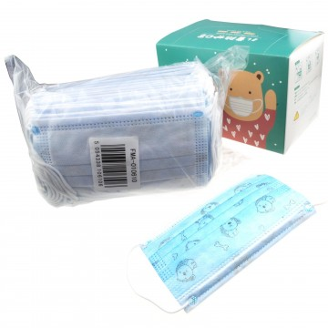 Protective Face Mask 3 ply Disposable Boys Kids/Child Breathable Blue [50 Pack]