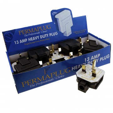 Permaplug 13 Amp 230V UK 3 Pin Heavy Duty Rubber Body Rewirable Plug [10 Pack]