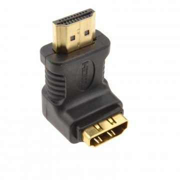 HDMI Male to Female Right Angled Adapter 90 Degrees GOLD