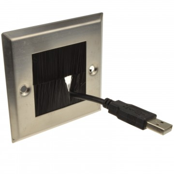 STEEL Cable Entry/Exit BRUSH Faceplate for Wall Outlet UK Single Gang