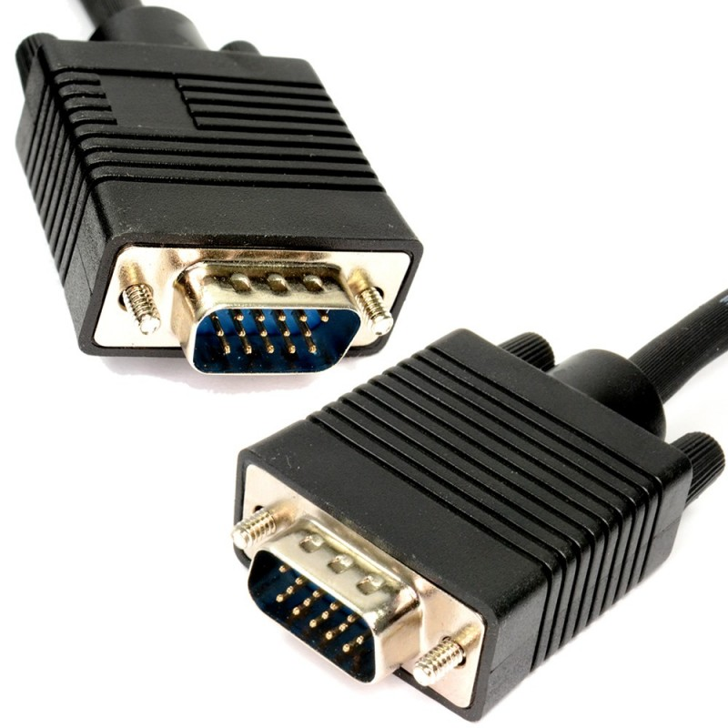 SVGA PC Monitor Cable 15 Pin Male to Male VGA Lead 25m Black