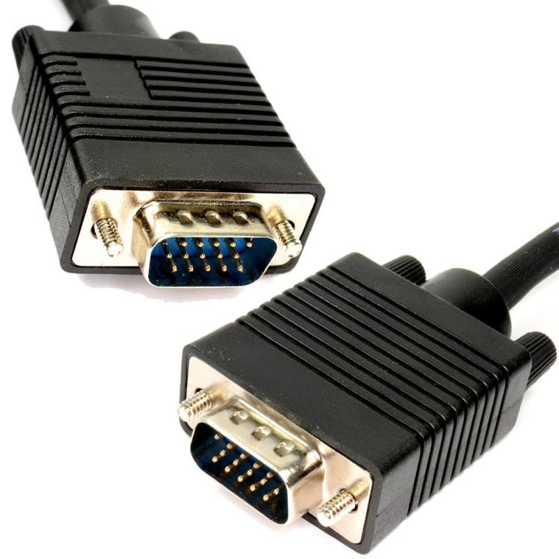 SVGA PC Monitor Cable 15 Pin Male to Male VGA Lead  0.5m Black