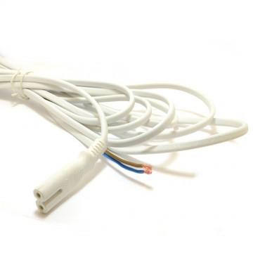 Figure 8 C7 Plug to Bare Wire 2 core Cable 3A 240V 5m WHITE