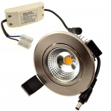 Ceiling LED Spotlight 5W Dimmable Warm White Tilting with Driver BRUSH CHROME