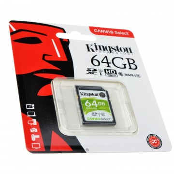 Kingston Class 10 SD Storage Memory Card U1 Cameras/File Backup 64GB