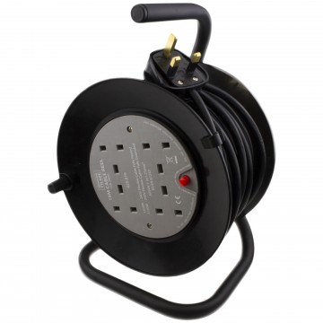 4 Gang Way 13A Mini Cable Mains Power Extension Reel Long Trailing Lead 15m