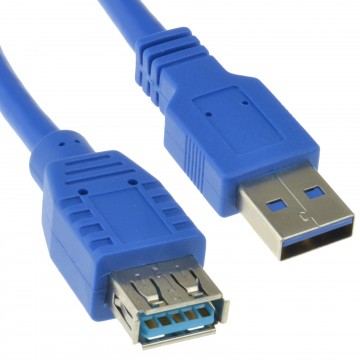 USB 3.0 SuperSpeed Extension Cable Type A Male to Female BLUE 5m Long