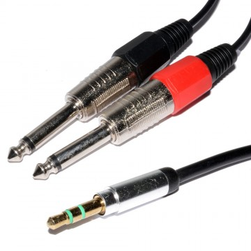 3.5mm Stereo Jack Plug to Twin 6.35mm MONO Plugs Low Noise Cable 1.5m