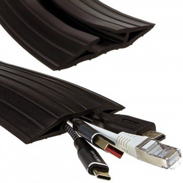 Black Rubber Floor Cable Protector Cover 19 x 9.5mm Inner Channel 2m 6ft