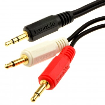3.5mm Stereo Aux Jack to Twin Mono 3.5mm Jack Plugs OFC Audio Cable Gold 2m