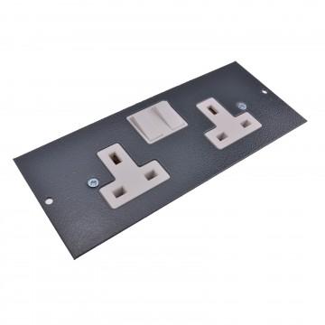 Floor Box Switched UK Plug Socket 2 Gang 13A 250V