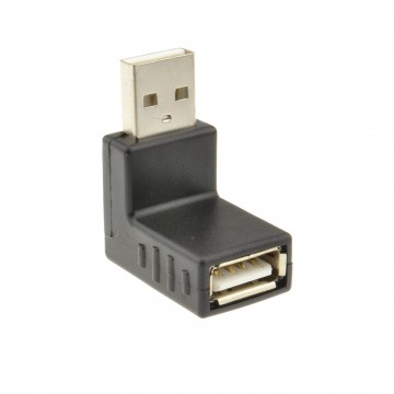 USB 2.0 Right Angle Adapter Male to Female 90 Degree Bend