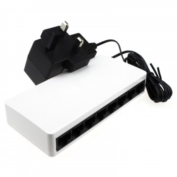 Tenda 8 Port 10/100 Switch Mini SOHO Desktop RJ45 Network with UK PSU