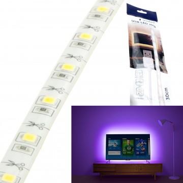 USB Powered LED Tape Waterproof IP65 White 80 Lumen TV/PC Gaming Lights 0.3m