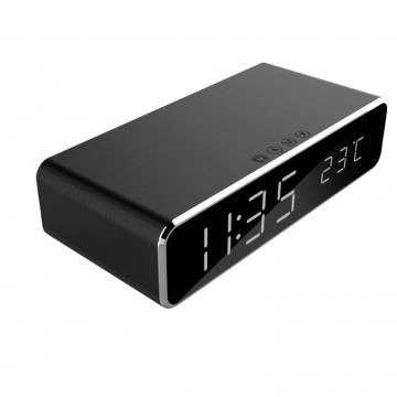 Digital Alarm Clock with 5W QI Mobile Phone Wireless Charging Plate Black