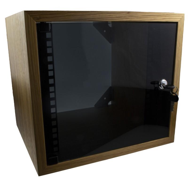 Wall Mounted Data Cabinet 10 inch SOHO Networking Small 4U 300mm Oak Veneer