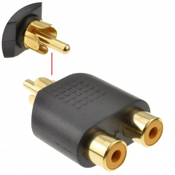 Phono RCA Splitter/Joiner Adapter Twin RCA Sockets to RCA Phono Plug GOLD