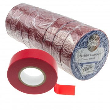 PVC Electrical Wire Insulation/Insulating Tape 19mm x 20m Red [10 Pack]