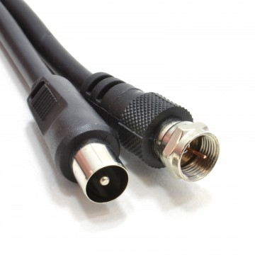 Coaxial Satellite to TV Aerial Cable F type Plug to RF Fly Lead RG59  1m Black