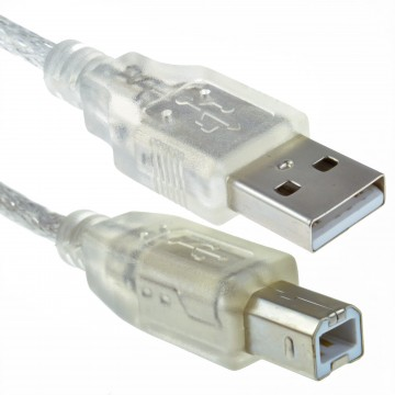 CLEAR USB 2.0 Hi-Speed Printer Cabe Lead A to B For 24AWG...