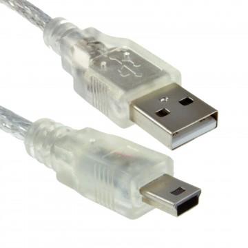 CLEAR Mini-B 5 pin USB 2.0 Hi-Speed Cable Lead Power & Data 24AWG 0.5m Ferrite