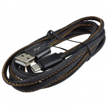 Denim USB 2.0 FAST CHARGE MICRO B Cable Android Phone 22AWG 2m