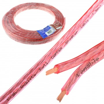 Speaker Cable 16AWG 1.5mm2 Pure OFC Copper Wire Clear  10m