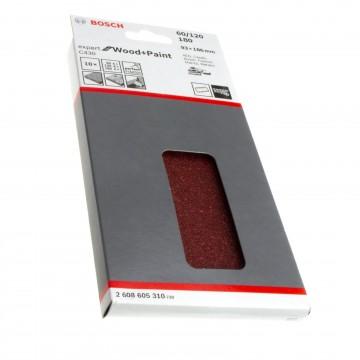 Bosch 2608605310 Sanding Sheet (10) Hook & Loop 60/120/180 Grit 93 x 186mm