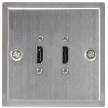 HDMI 2.0 4K Double Wall Plate Faceplate Twin Socket with...