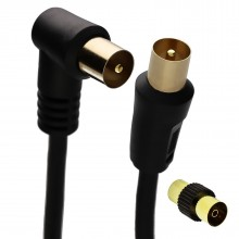 RF Right Angle TV Aerial Freeview Plug Video Cable & Coupler...