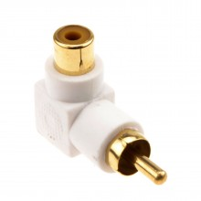 Right Angled RCA Phono Adapter White Audio Plug to Socket Gold Plated