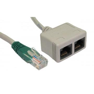 Cable Economiser Plug Twin Sockets (1x Data + 1 x Voice) RJ45 CAT5E