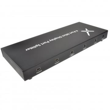 Mini DisplayPort UHD 4 Way Splitter 1 Input to 4 Outputs 4k x...