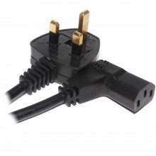 Power Cord UK Plug to Right Angle IEC C13 Cable (kettle lead) 15m