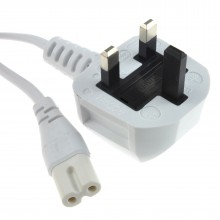 Figure 8 Power Cable UK Plug to C7 Lead for LED or Smart TV White 5m