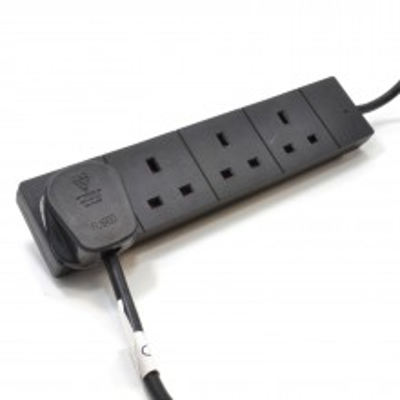 4 Gang Way UK Trailing Socket Mains Power Extension Lead Black...