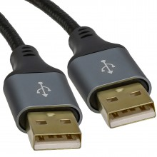 Pro Metal USB 2.0 24AWG A Plug to A Male High Speed Braided...
