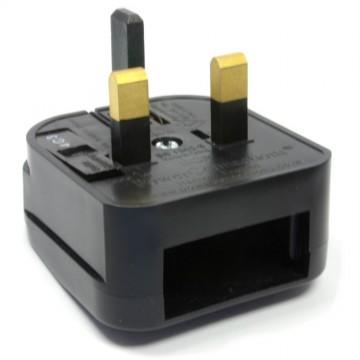 Europe Plug Socket to UK Plug Pins Travel Adapter 5 amps 5A Fused Black