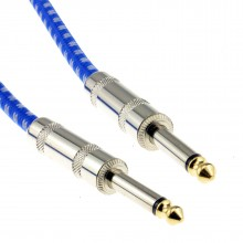 6.35mm Mono Braided Instrument Cable Blue & White Guitar Audio Lead 3m