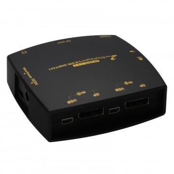 2 Port DisplayPort KVM Switcher Box 4K 60Hz with Cables &...
