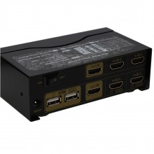 2 Port DUAL SCREEN HDMI 2.0 KVM Switcher Box 4K 60Hz with Cables Remote Control